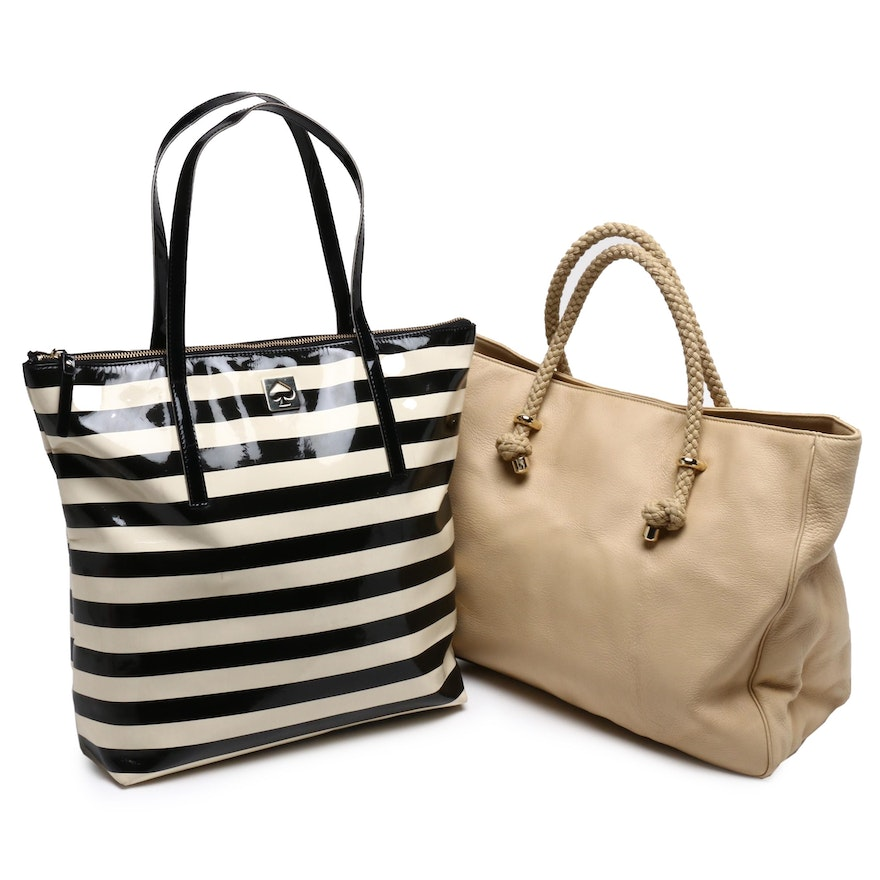 Kate Spade Tan Leather Tote Bag and Kate Spade Stripe Tote Bag
