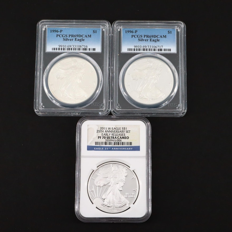 Three Graded $1 U.S. Silver Eagle Proof Coins