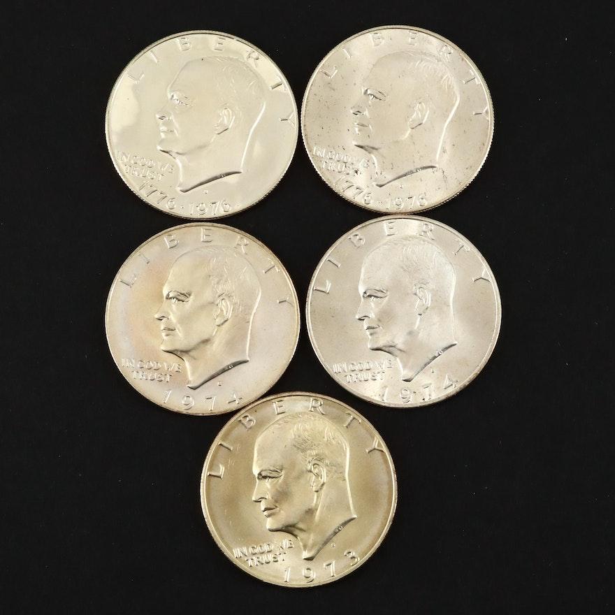 Five Eisenhower Silver Dollars