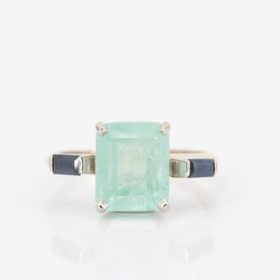 14K Yellow Gold 2.91 CT Emerald and Sapphire Ring