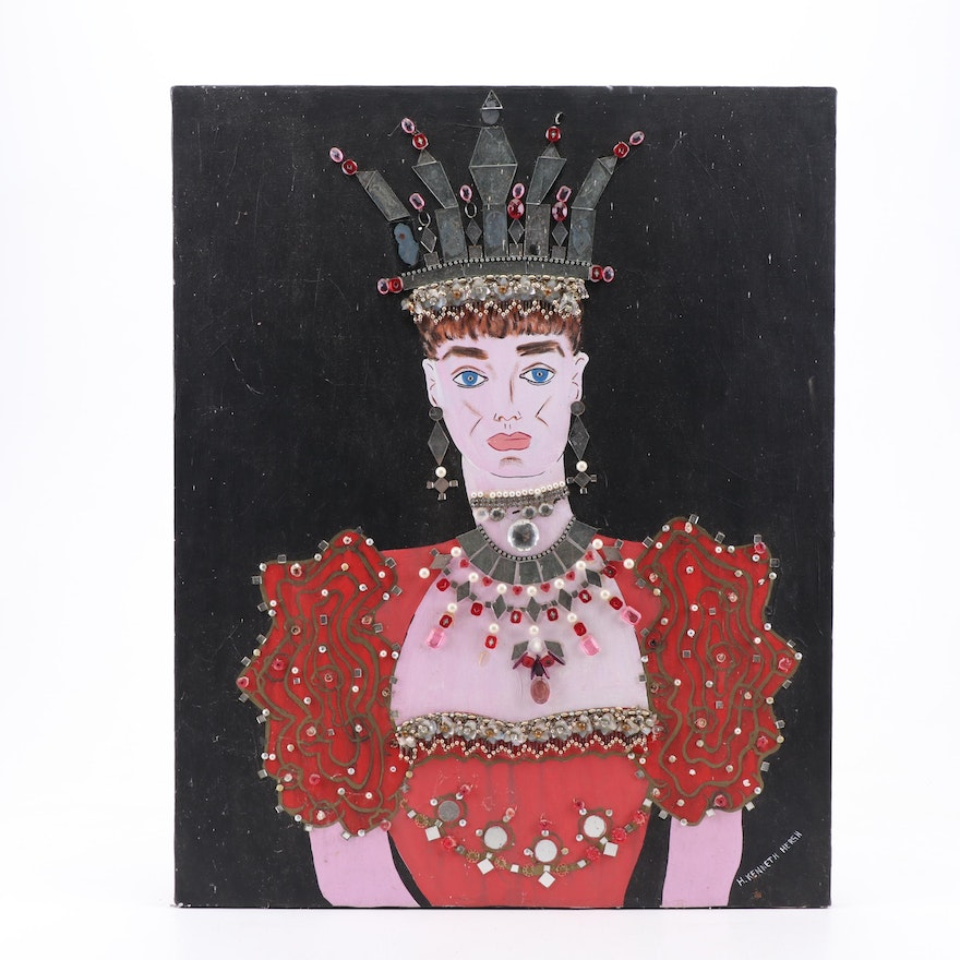 H. Kenneth Hersh Mixed Media Portrait of a Woman Wearing a Crown