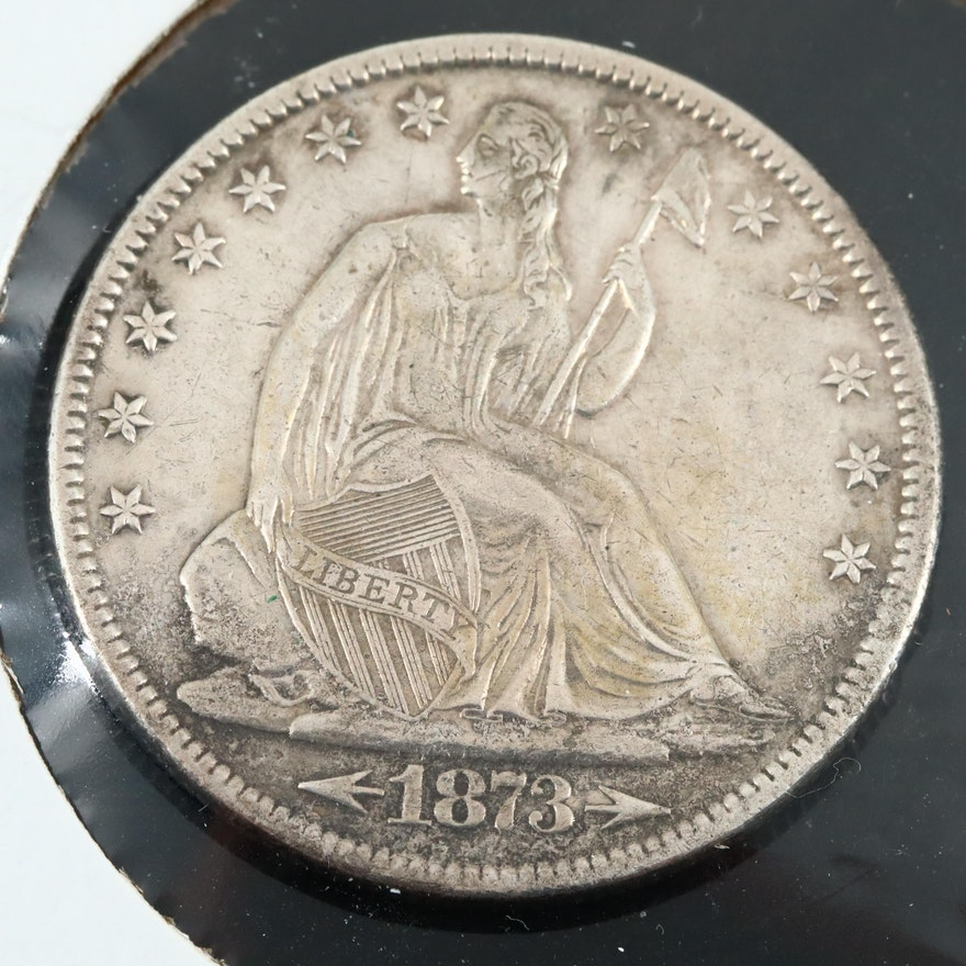 1873 Seated Liberty Silver Half Dollar