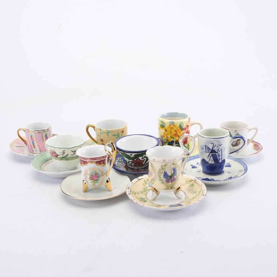 """Hutschenreuther """"Parklane"""" and Other Porcelain and Earthenware Teacup Sets"""