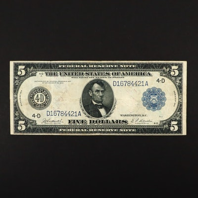 Series of 1914 Blue Seal $5 Federal Reserve Note