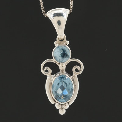 Sterling Silver Glass Pendant on 18K White Gold Box Chain