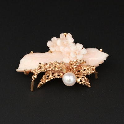 14K Yellow Gold Coral and Cultured Pearl Brooch