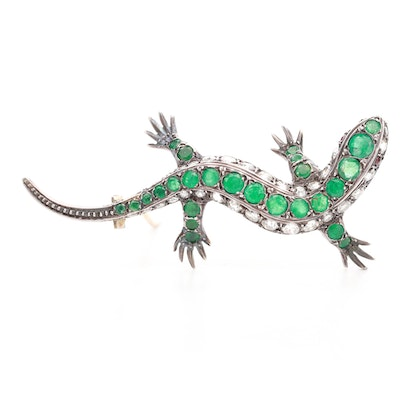 Vintage 935 Silver Ruby, Emerald and 2.62 CTW Diamond Gecko Brooch
