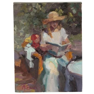 Sally Rosenbaum Oil Painting of Woman Reading