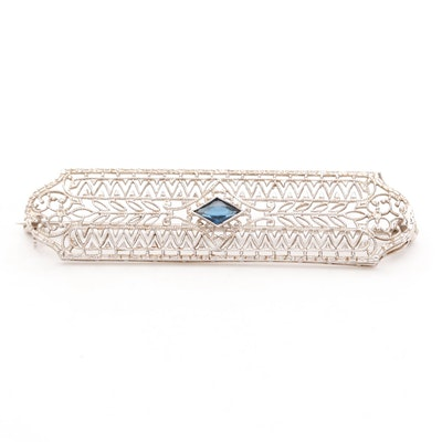 Vintage 14K White Gold Filigree Brooch with Glass Accent