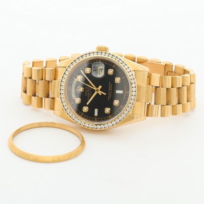 Vintage Rolex Day-Date 18K Gold and 1.85 CTW Diamond Wristwatch,1979