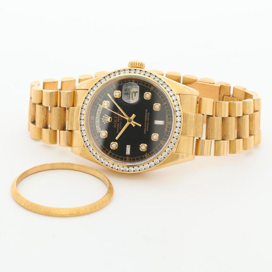 Vintage Rolex Day-Date 18K Gold and 1.85 CTW Diamond Wristwatch,1979