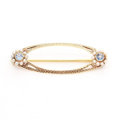 Vintage 14K Yellow Gold Sapphire and Cultured Pearl Brooch