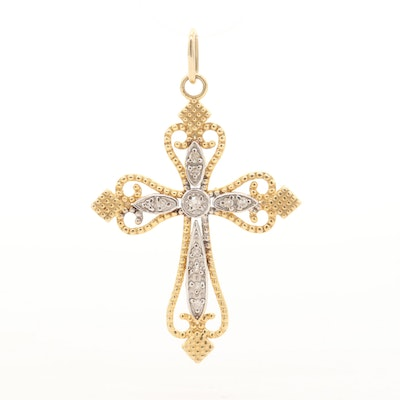 14K Yellow Gold Diamond Cross Pendant with White Gold Accent
