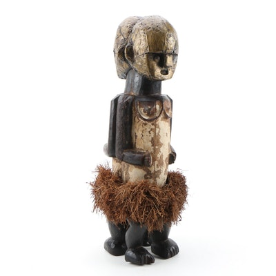 African Hand-Carved Janiform Figure