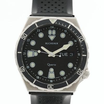 Vintage Bucherer Stainless Steel Quartz Dive Watch