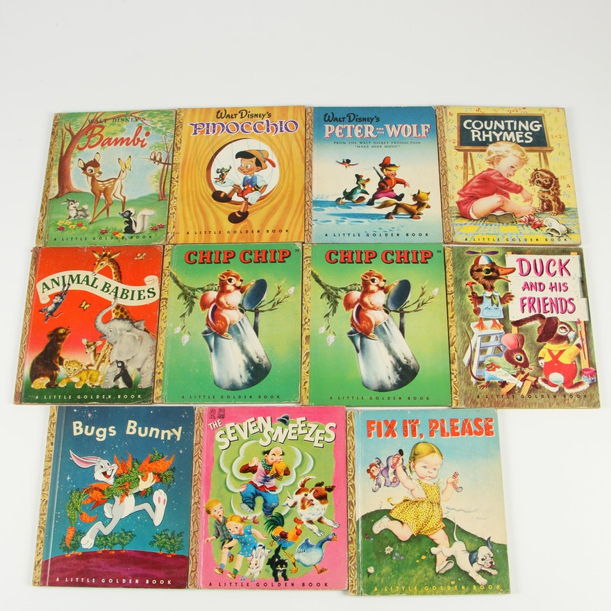 """Little Golden Books including Walt Disney's """"Bambi"""" and """"Pinocchio"""""""