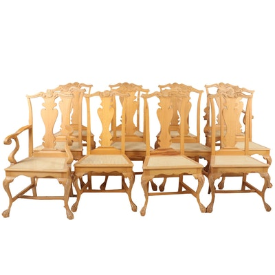 Contemporary Chippendale Style Wood Side and Armchairs, Set of Twelve