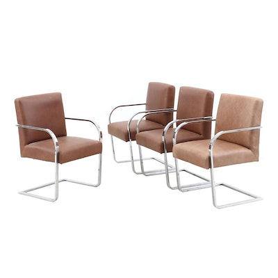 Four William-Sonoma Modern Chromed Steel and Upholstered Cantilever Armchairs