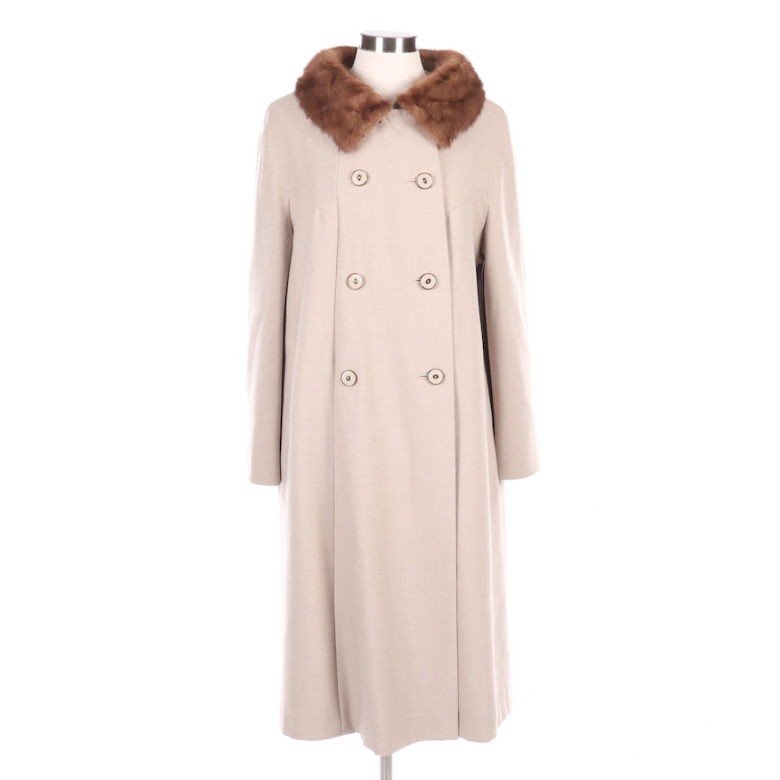 Wool Double-Breasted Coat with Mink Fur Collar, Vintage