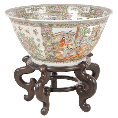 Large Chinese Rose Medallion Porcelain Basin Bowl with Rosewood Stand