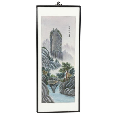 East Asian Summer Landscape Embroidered Panel Hanging Scroll