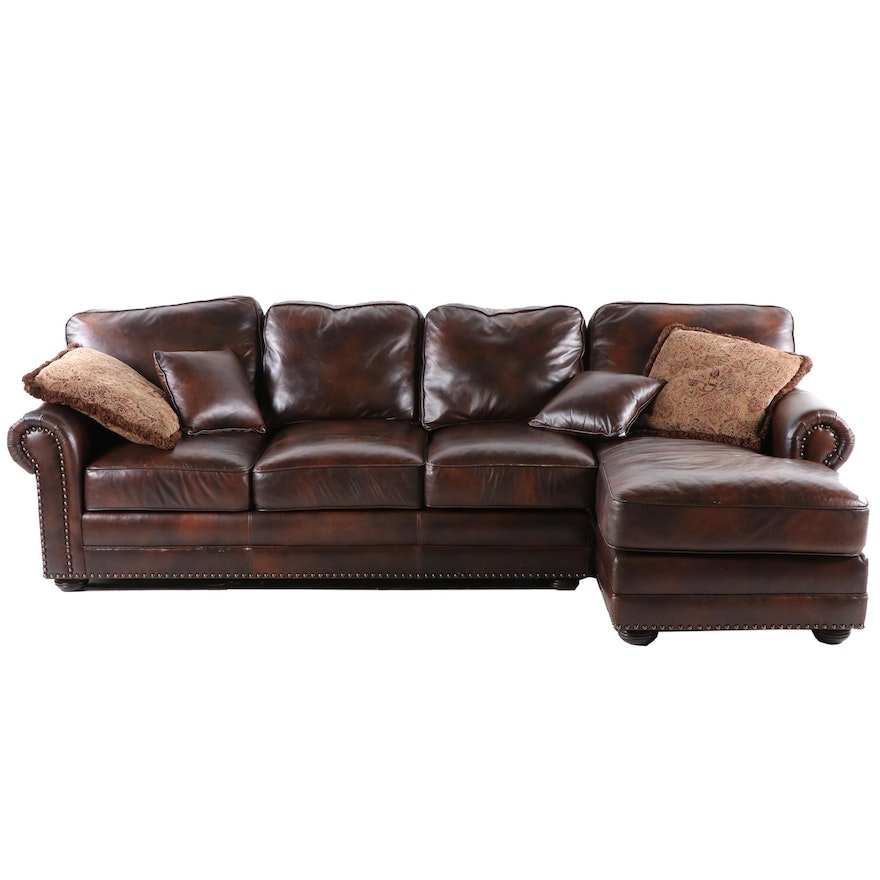 Contemporary Brown Leather Sectional Sofa With Nailhead Trim