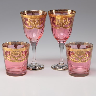 Fumo Brothers I Preziosi Gilded Water Goblets and Old Fashioned Glasses