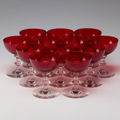 Red with Clear Stem Glass Champagne Coupes