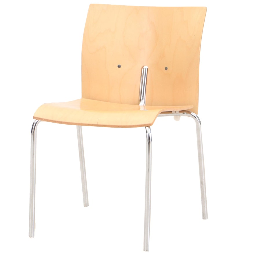 Mid Century Modern Laminated Birch and Chrome Side Chair, Contemporary