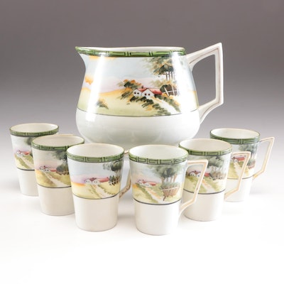 """China """"E-OH"""" Hand Painted Pitcher with Cups, Early 20th Century"""