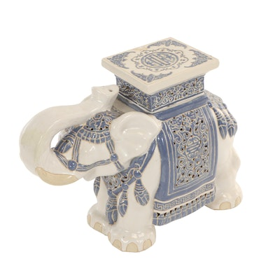 Chinese Blue and White Ceramic Elephant-Form Plant Stand