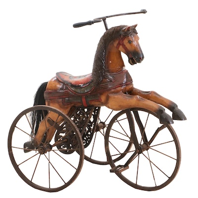 Carved and Painted Victorian Style Horse Tricycle
