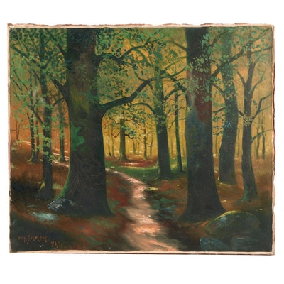 E. Johanson 1923 Oil Painting of Forest Landscape