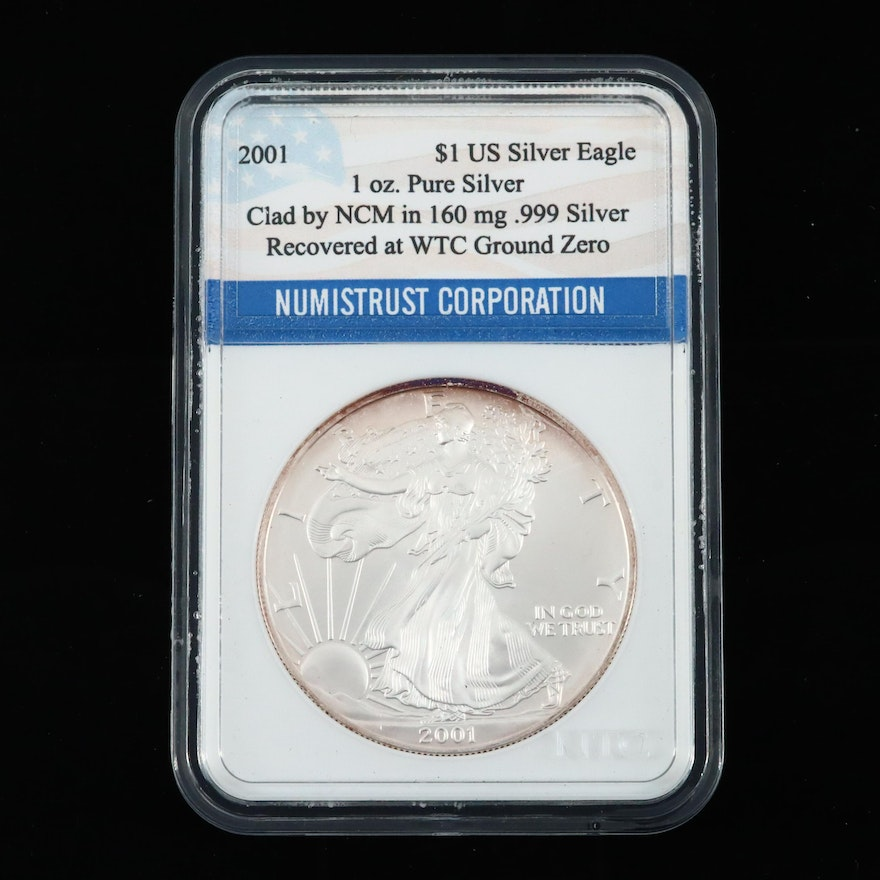 2001 American Silver Eagle $1 Coin Recovered From World Trade Center Ground Zero