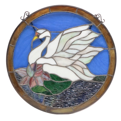 Circular Stained Glass Panel with Swan Motif
