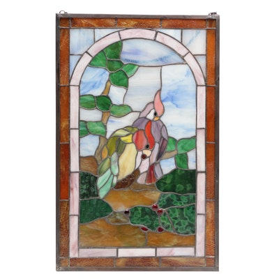 Stained Glass Panel with Bird Motif