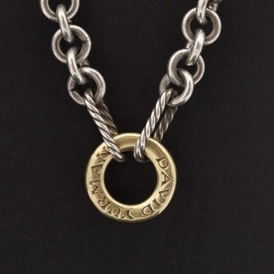David Yurman Sterling Silver and 18K Yellow Gold Necklace