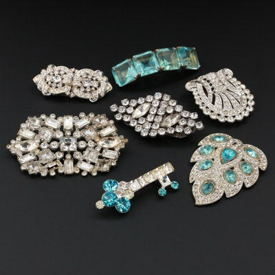 Vintage Rhinestone and Glass Accented Jewelry Featuring Dress and Scarf Clips