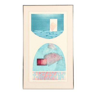 "Cynthia Triedman Abstract Aquatint Etching ""April 31st"""