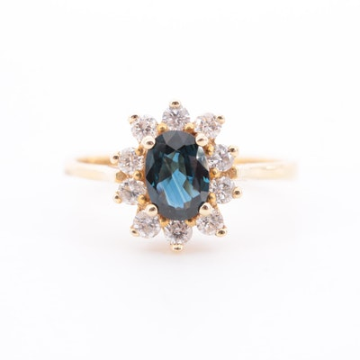 14K Yellow Gold Blue Sapphire and Diamond