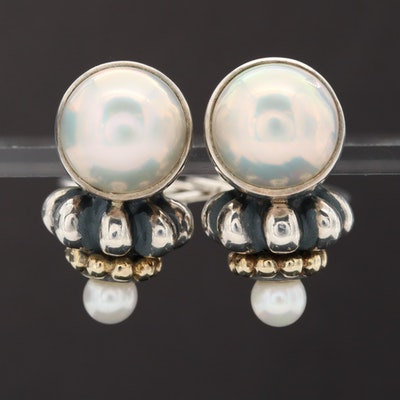 Sterling Silver Cultured Pearl Earrings with 14K Yellow Gold Accents