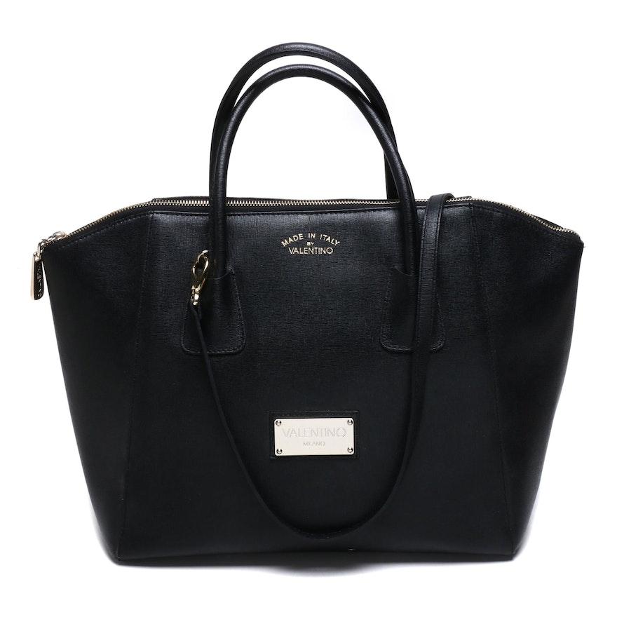 Valentino by Mario Valentino Gigi Black Saffiano Leather Tote Bag
