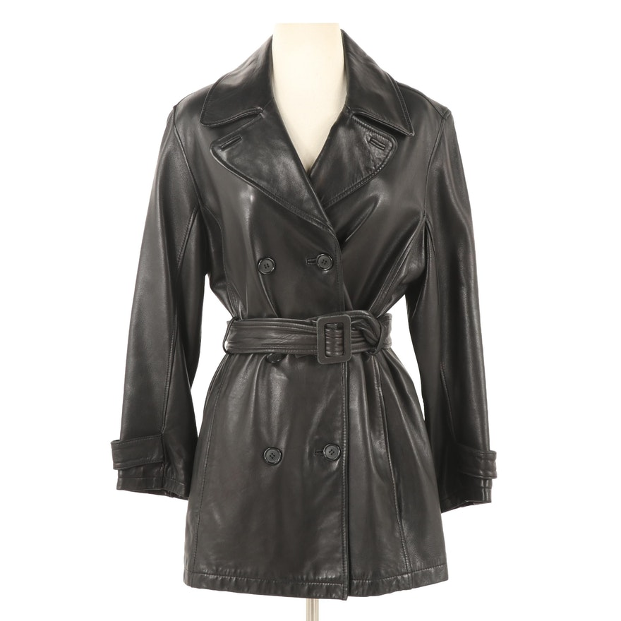 Andrew Marc Additions Black Leather Double-Breasted Coat with Belt