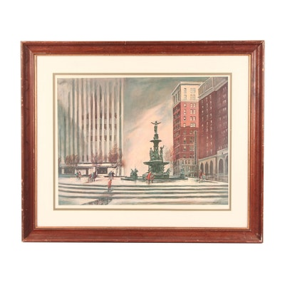 "Floyd Berg Offset Lithograph ""Fountain Square"""