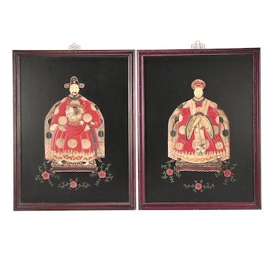 East Asian Panels with Carved Resin Relief Figures