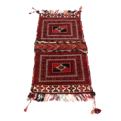 Hand-Knotted Turkmen Wool Double Saddle Bag