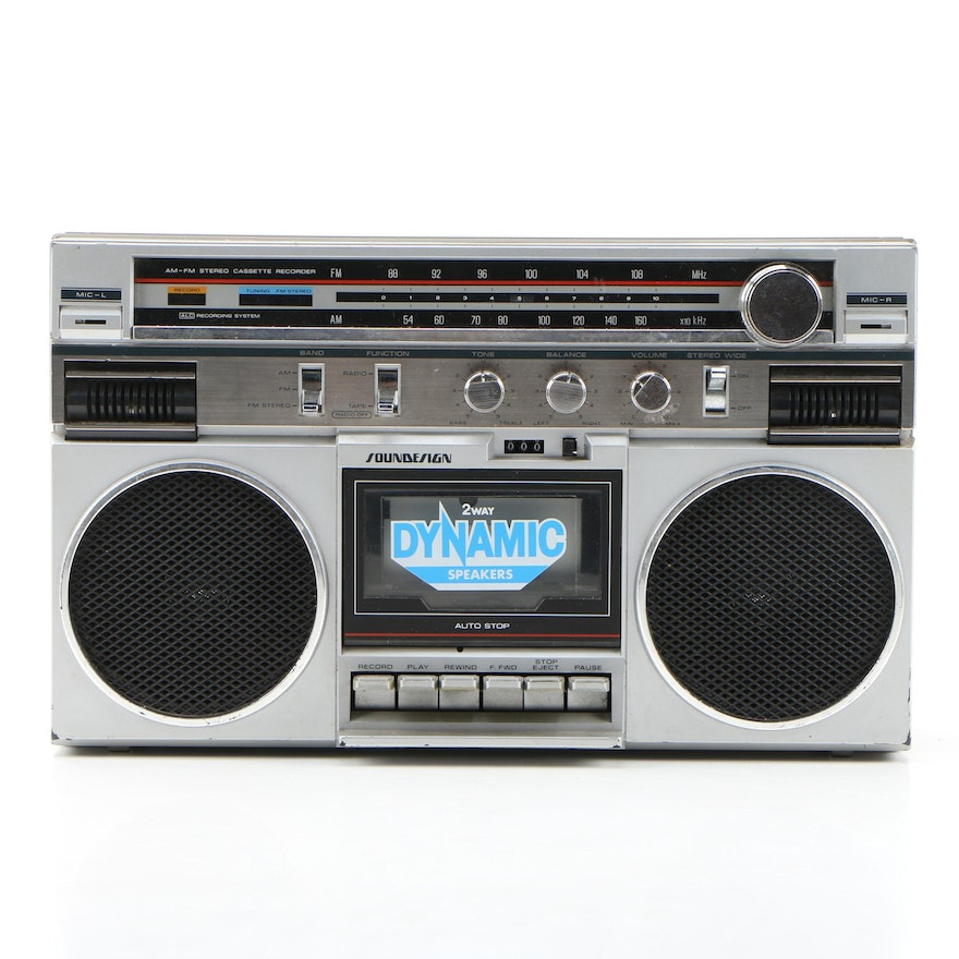 Soundesign 4633 AM/FM Stereo Cassette Recorder Boombox, 1980s