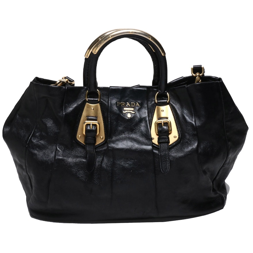 Prada Black Leather Pleated Tote Bag