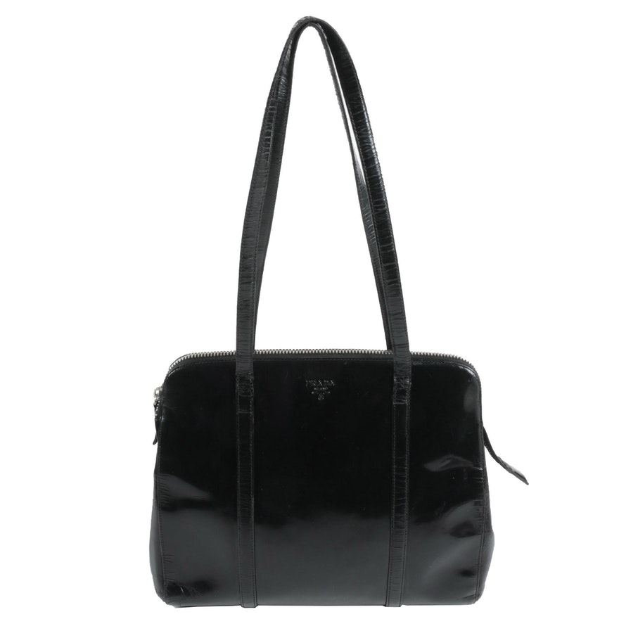 Prada Shoulder Bag in Black Spazzolato Leather