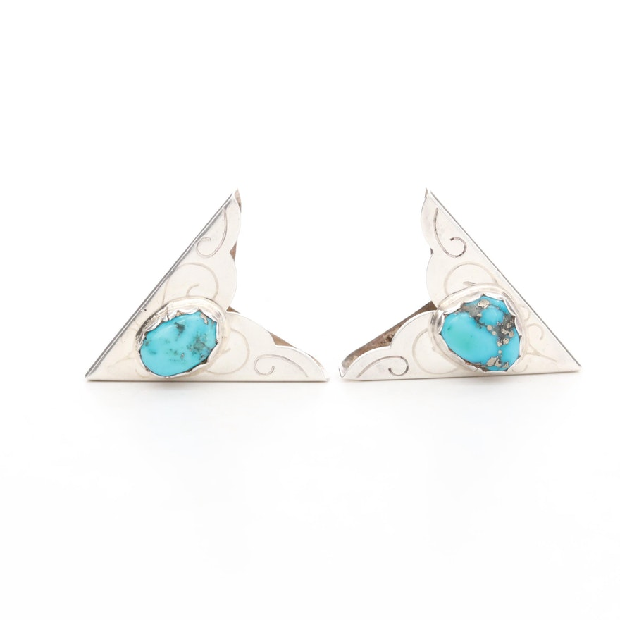 Sterling Silver Stabilized Turquoise Collar Tips